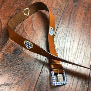 Vintage gingham heart leather The Limited belt M